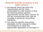 potential benefits according to the aarf cont d
