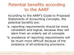 potential benefits according to the aarf