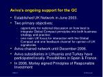 aviva s ongoing support for the gc