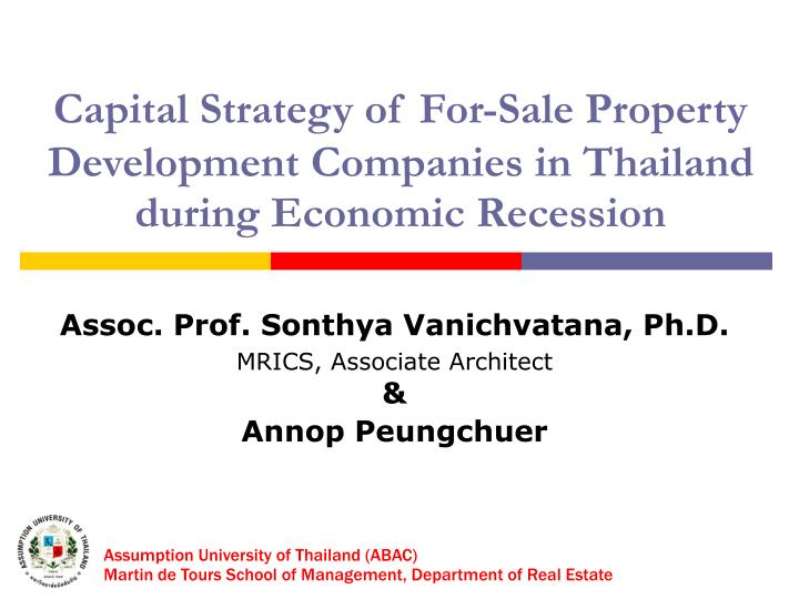 Capital strategy of for sale property development companies in thailand during economic recession