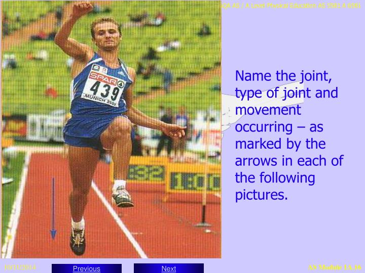 Name the joint, type of joint and movement occurring – as marked by the arrows in each of the following pictures.