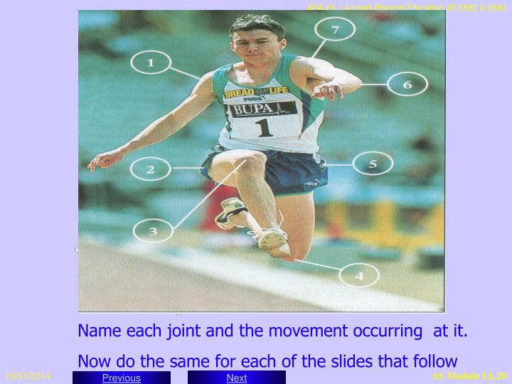 Name each joint and the movement occurring  at it.