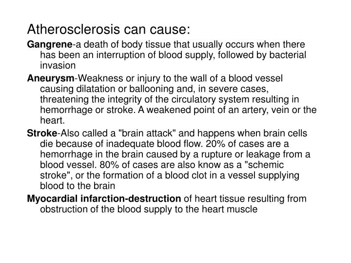 Atherosclerosis can cause: