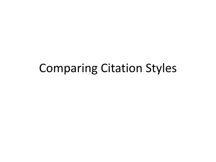 comparing citation styles n.