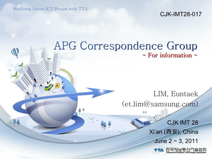Apg correspondence group for information