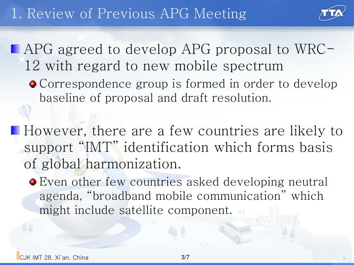 1. Review of Previous APG Meeting