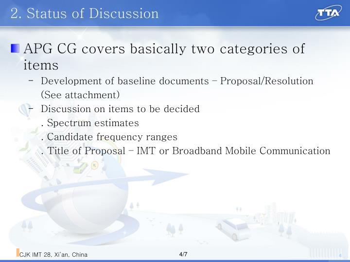 2. Status of Discussion