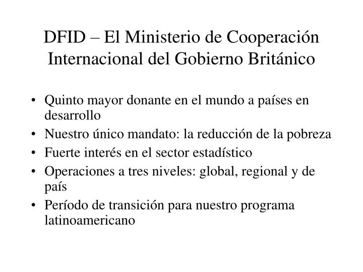 Dfid el ministerio de cooperaci n internacional del gobierno brit nico