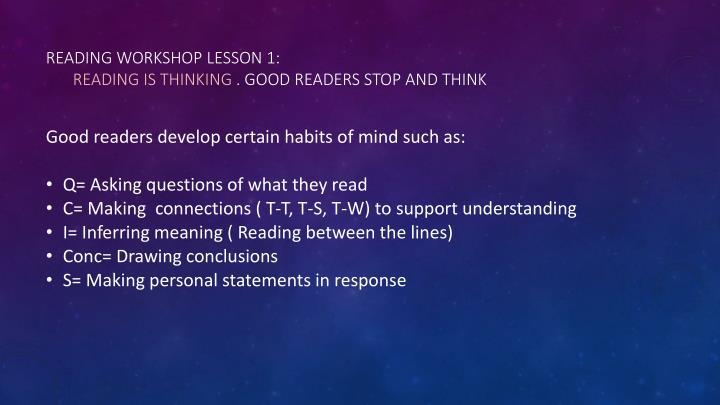 Reading Workshop Lesson 1: