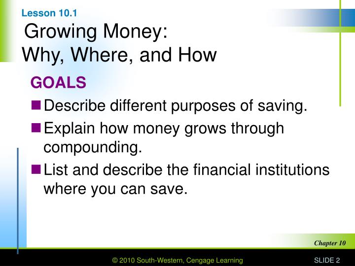 Lesson 10 1 growing money why where and how
