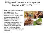 philippine experience in integrative medicine 1972 2008