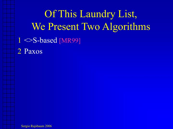 Of This Laundry List,