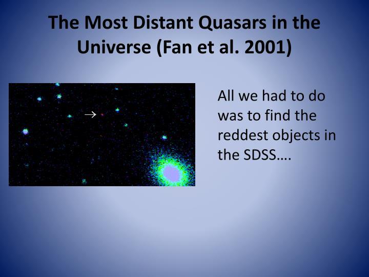 The Most Distant Quasars in the Universe (Fan et al. 2001)