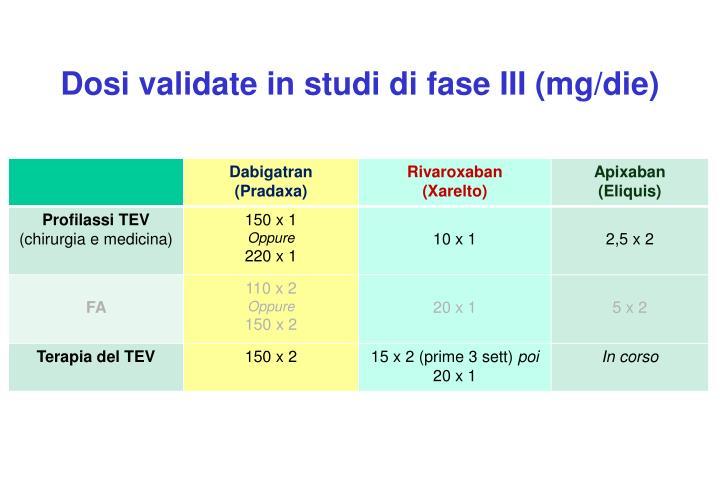Dosi validate in studi di fase III (mg/die)