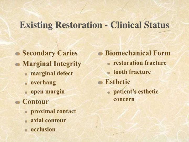 Existing restoration clinical status