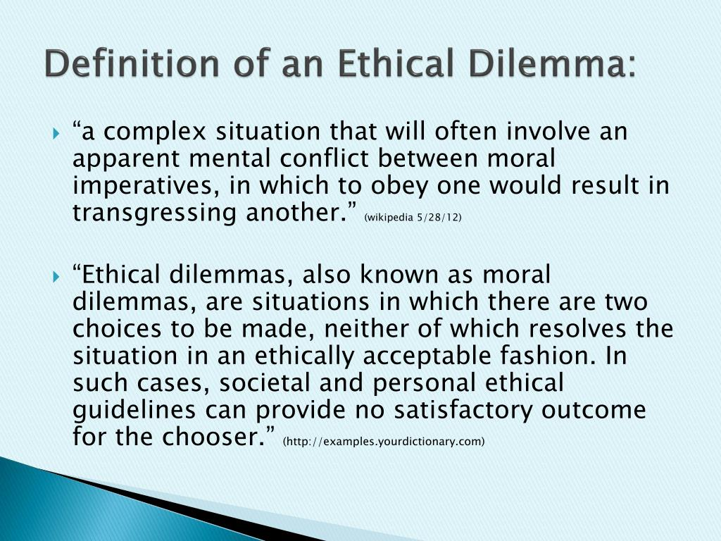 ppt - definition of an ethical dilemma: powerpoint presentation - id