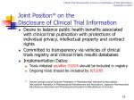 joint position on the disclosure of clinical trial information