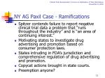 ny ag paxil case ramifications