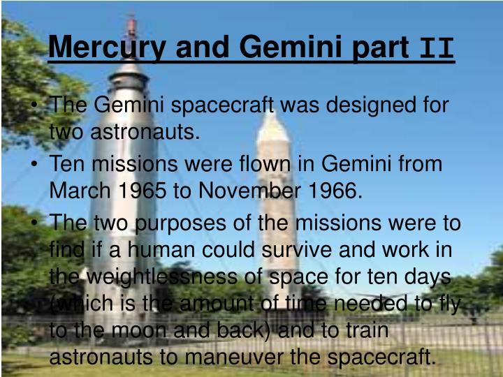 Mercury and Gemini part