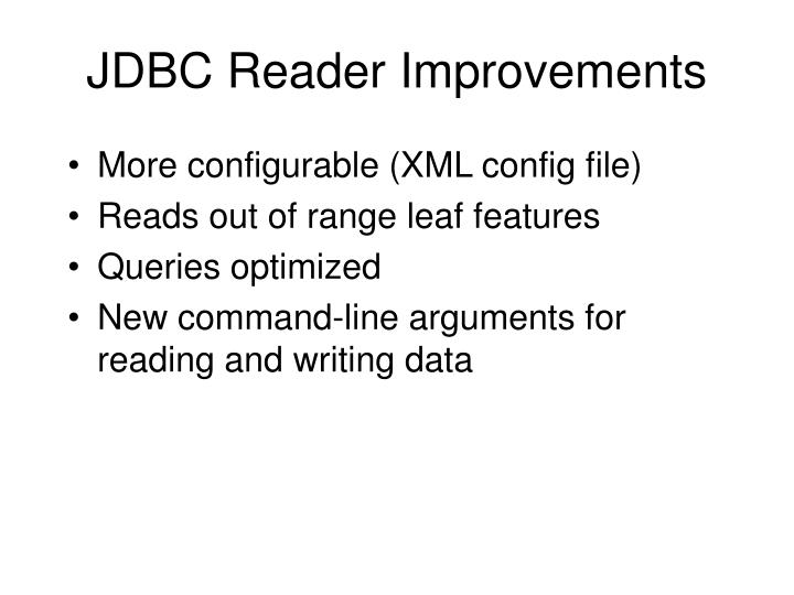 JDBC Reader Improvements