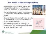 den private sektors rolle og betydning