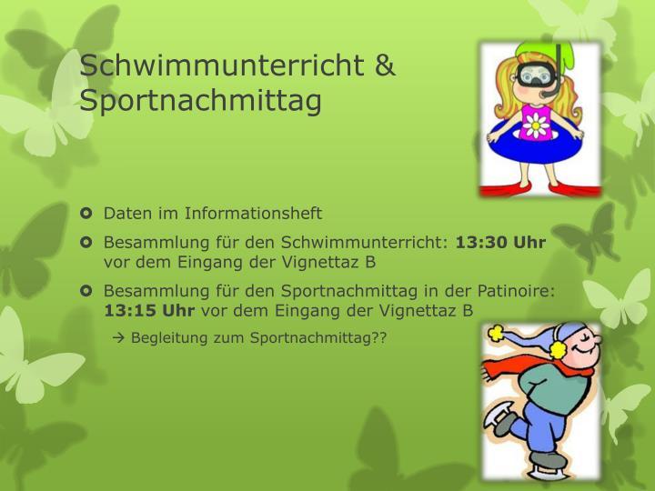 Schwimmunterricht & Sportnachmittag