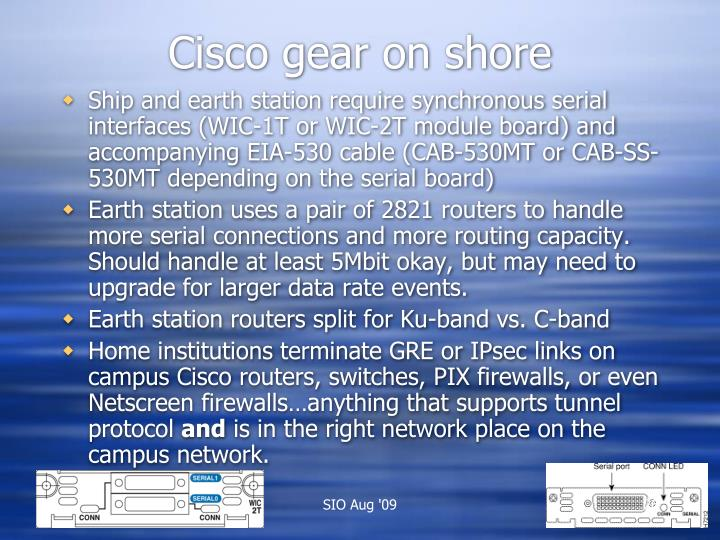 Cisco gear on shore