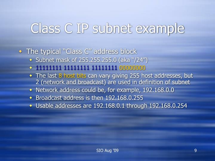 Class C IP subnet example