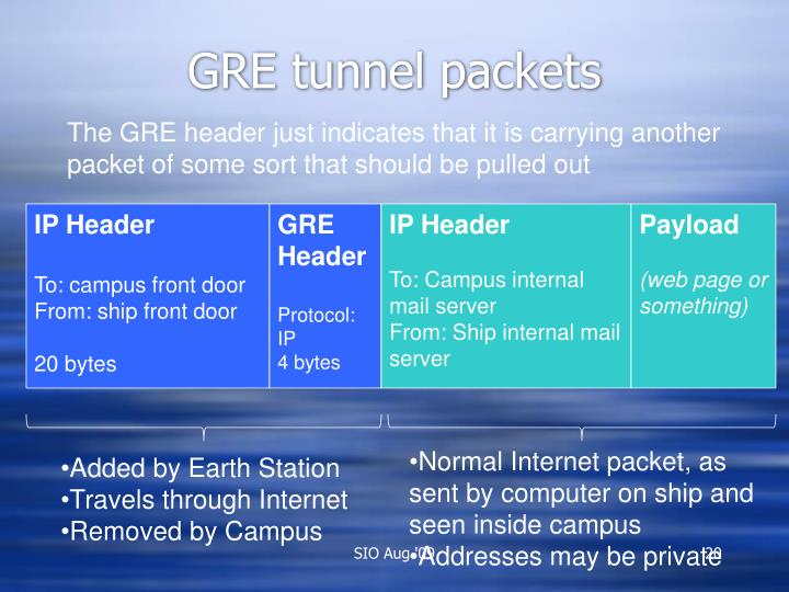 GRE tunnel packets