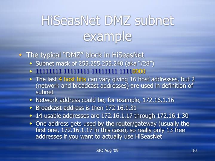 HiSeasNet DMZ subnet example