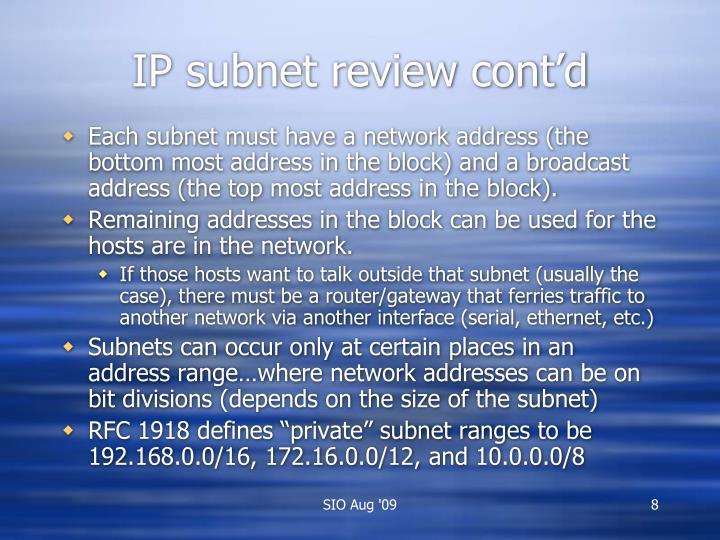 IP subnet review cont'd