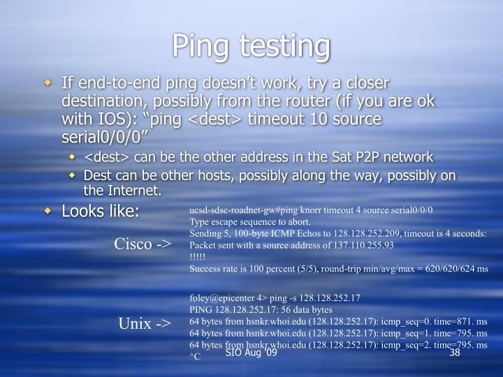 Ping testing