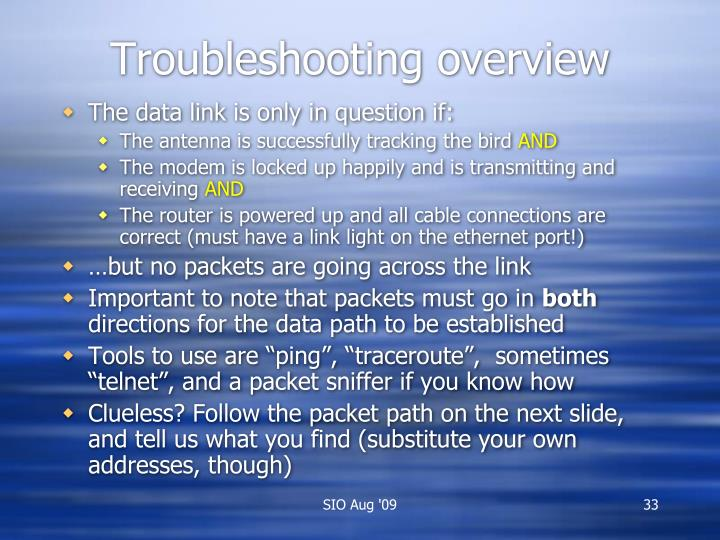 Troubleshooting overview