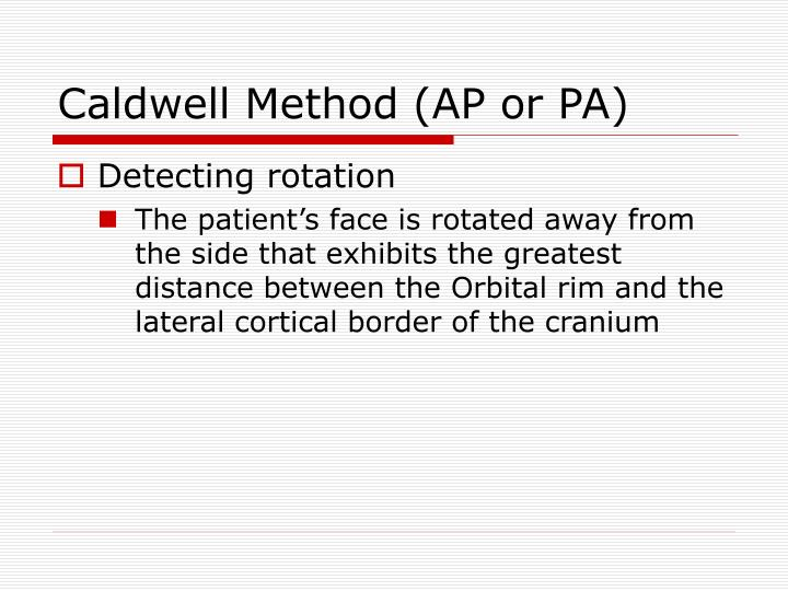 Caldwell Method (AP or PA)