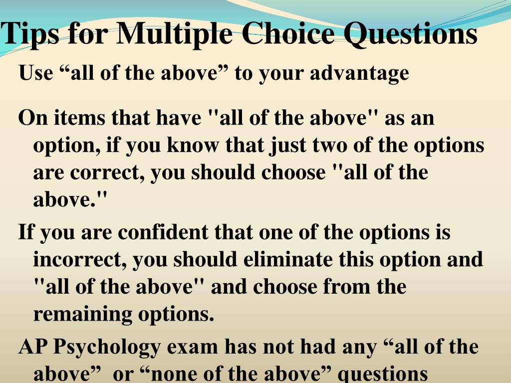 PPT - Tips for Multiple Choice Questions PowerPoint