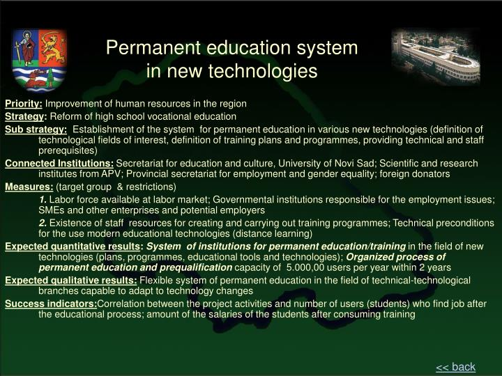 Permanent education system