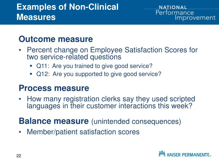 Examples of Non-Clinical Measures