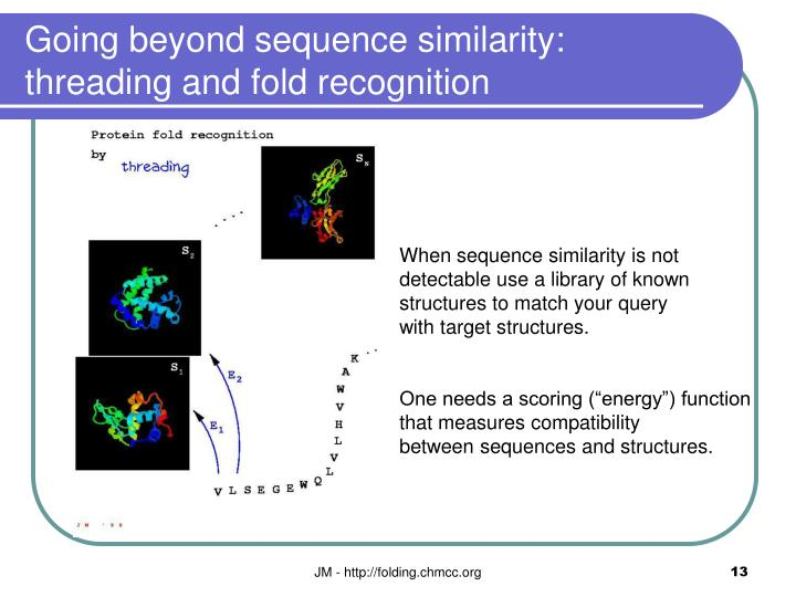 Going beyond sequence similarity: threading and fold recognition