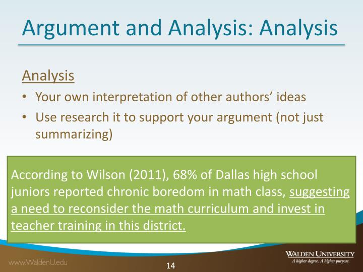 Argument and Analysis: Analysis
