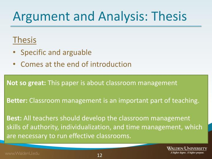 Argument and Analysis: Thesis