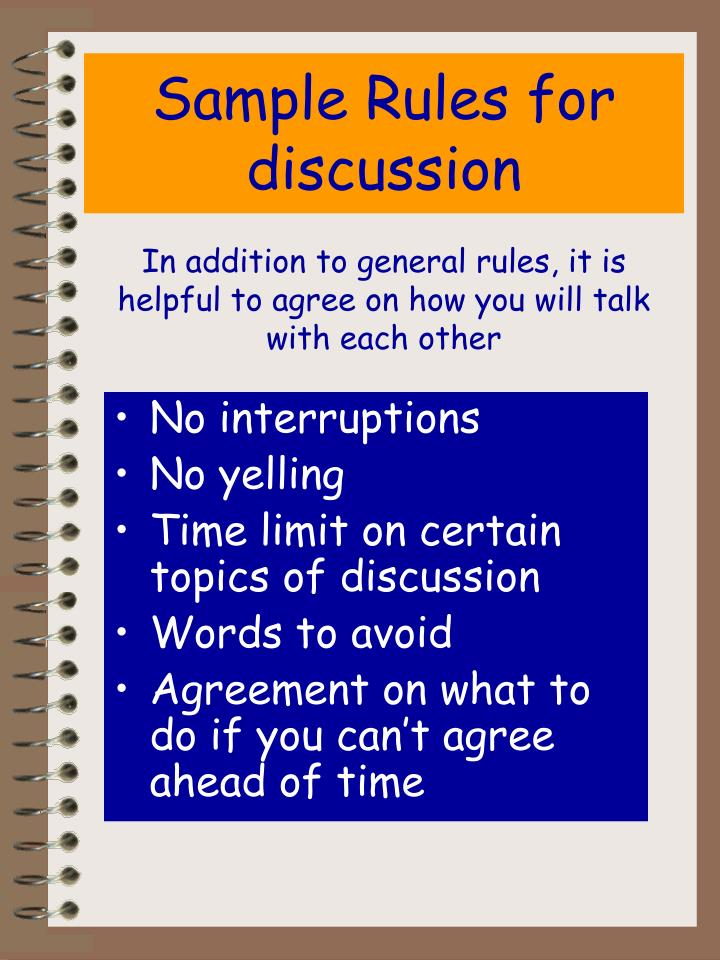 Sample Rules for discussion