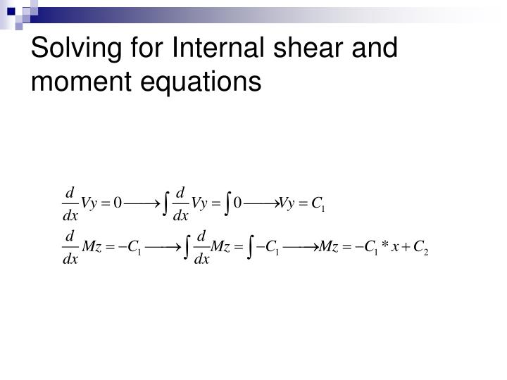 Solving for Internal shear and moment equations