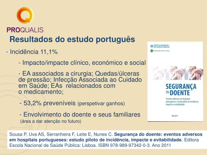 Resultados do estudo português