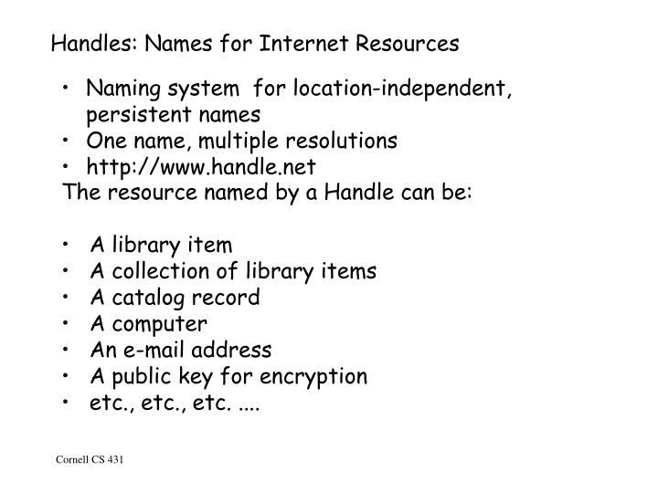 Handles: Names for Internet Resources