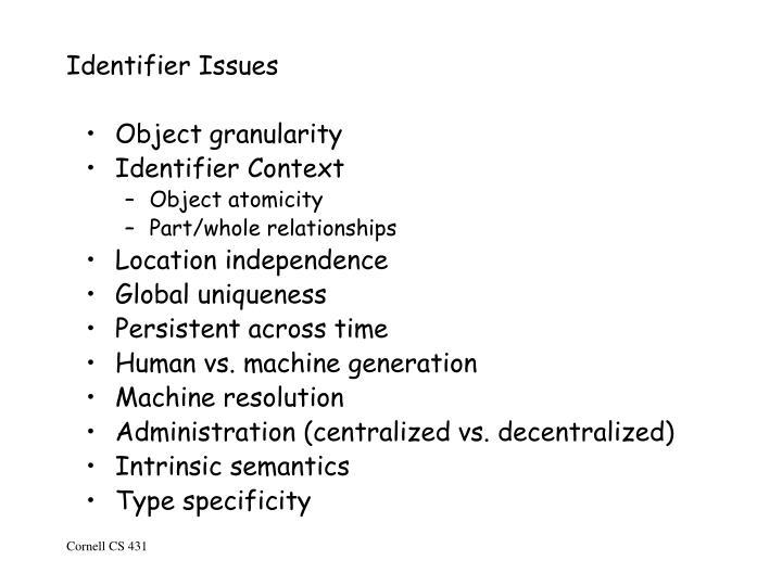 Identifier Issues