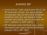 award mp