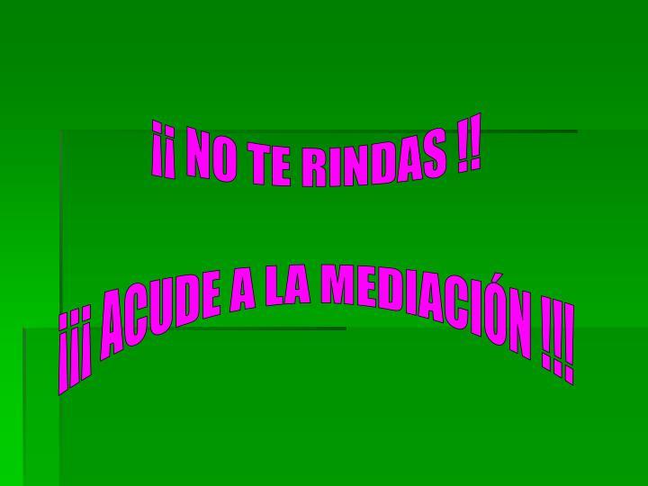 ¡¡ NO TE RINDAS !!