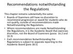 recommendations notwithstanding the regulations