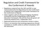 regulation and credit framework for the conferment of awards1