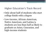 higher education s track record